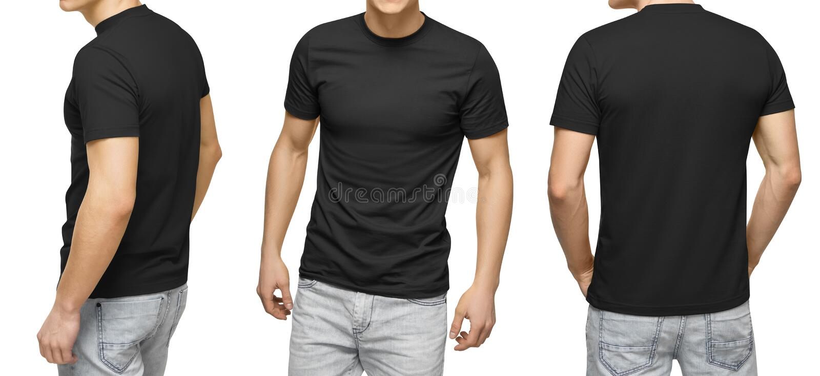Young Male In Blank Black T-shirt, Front And Back View, White