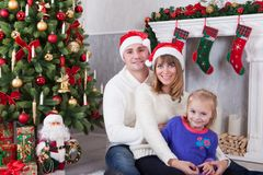 Christmas Or New Year Celebration Happy Young Family At