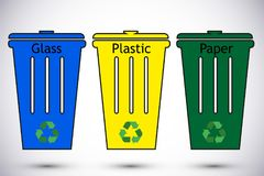 Trash Types Segregation With Recycling Bins Stock Vector