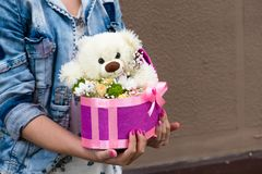 White Teddy Bear Holding Pink Heart Stock Images