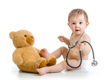 Funny Baby Weared Diaper With Stethoscope Stock Photo