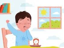 Cartoon Illustration Boy Wake Up In The Morning Stock