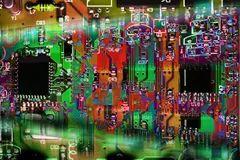 vector circuit board sun in round metal plate
