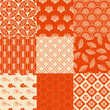 Seamless japanese traditional red pattern set stock photo