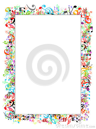 Music notes border - rainbow page border