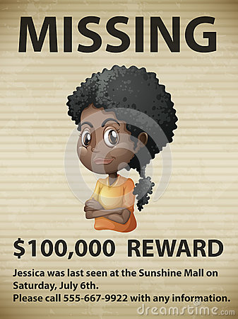 Missing person - lost person poster