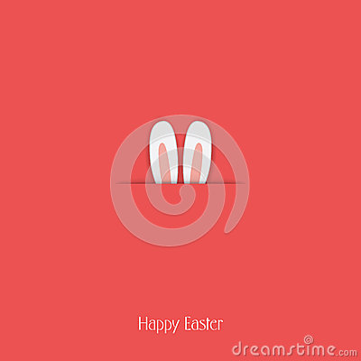 Adorable Happy Easter postcard template with bunny