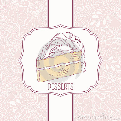 Dessert menu template with sweet cake and doodle