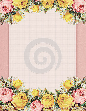 Printable vintage shabby chic style floral rose stationary on green