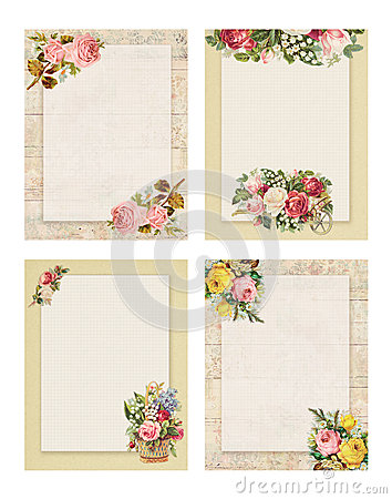 Set of four Printable vintage shabby chic style floral rose