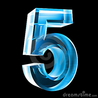 3d Number 5 In Blue Glass Stock Photo - Image: 6205630