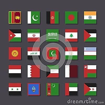 Asia Middle East Flag Icon Set Metro Style Royalty-Free Cartoon