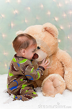 Cute Fairy Wallpaper 3d Baby In Pajamas Kissing Teddy Bear Royalty Free Stock