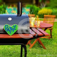 BBQ Summer Backyard Party Scene Stock Photo - Image: 42497320