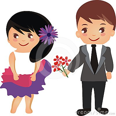 Cute Cartoon Couples Wallpapers Beautiful Cartoon Couple With Flowers Stock Photos Image