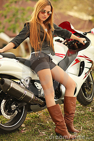Iphone 4 Wallpaper For Girls Beautiful Woman On Motorcycle Royalty Free Stock Image