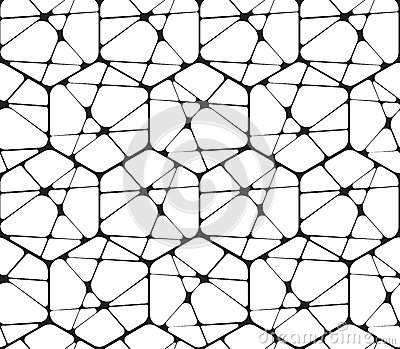 Deco Wallpaper 3d Black And White Abstract Geometric Vector Seamless Stock