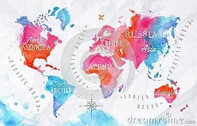 Cute Artsy Wallpapers Bleu De Rose De Carte Du Monde D Aquarelle Illustration De