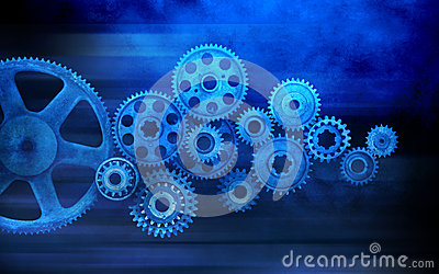 Matrix 3d Wallpaper Free Download Blue Cogs Gears Background Royalty Free Stock Image