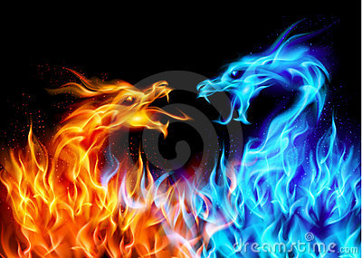 3d Dragon Eye Wallpaper Blue And Red Fire Dragons Stock Photo Image 21112960