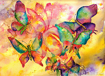 Fish Animation Wallpaper Free Download Butterflies Watercolor Painting Royalty Free Stock Image