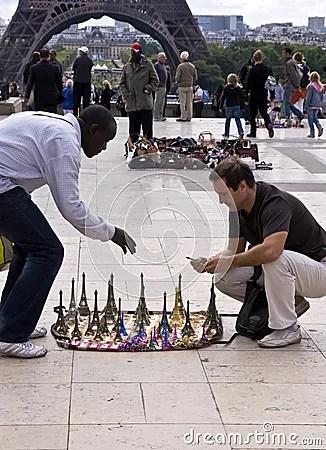 Buying Souvenirs In Paris Near The Eiffel Wer