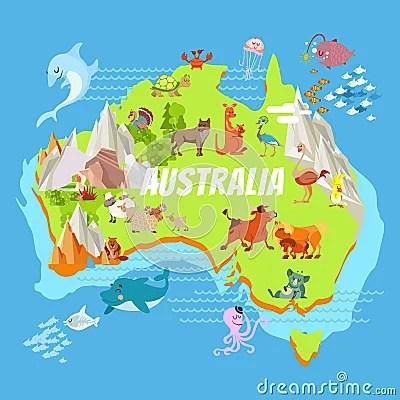 Cartoon Animation Wallpaper Free Download Cartoon Australia Map With Animals Stock Vector Image
