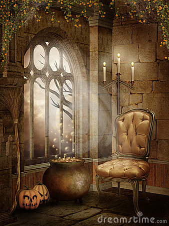 3d Moon Night Wallpaper Castle Room With Halloween Decorations Royalty Free Stock