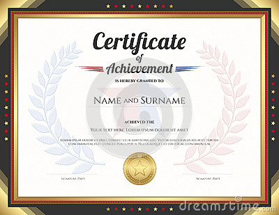 Certificate Of Achievement Template With Gold Border Theme Cartoon