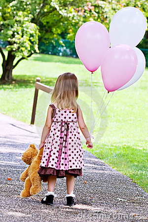 Colorful 3d Abstract Wallpapers Child Dragging Teddy Bear And Holding Balloons Stock
