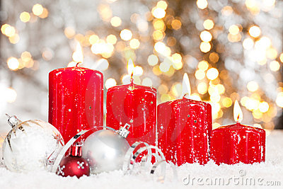 Thank You Wallpaper Animated Christmas Background With Red Candles And Snow Stock Image