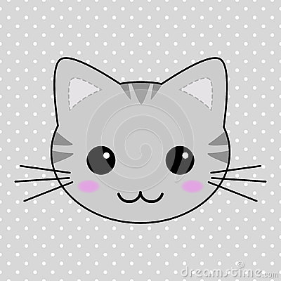 Cute Little Gray Cat For Wallpaper Cute Gray Kawaii Tabby Cat Stock Vector Image 40991470