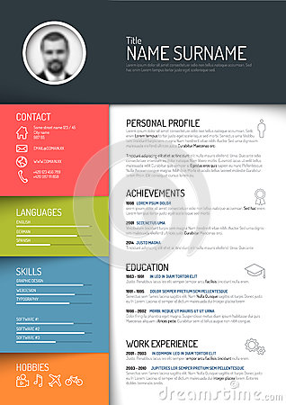 Free Cv Templates Cv Resume Template Stock Illustration Image 50832935