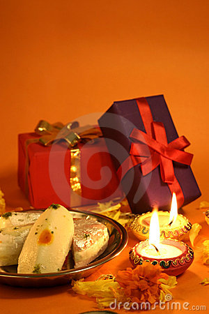 Happy Diwali 3d Wallpaper Diwali Gifts And Sweets Stock Photo Image 21490930