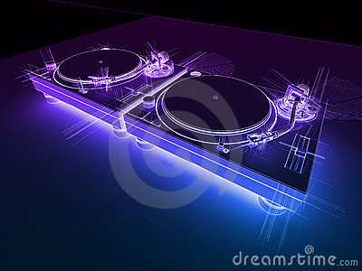 Wallpaper 3d Animation Free Download Dj Turntables 3d Neon Sketch Royalty Free Stock Image