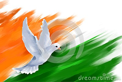 Koi 3d Wallpaper Dove Flying On Indian Flag For Indian Republic Day Stock