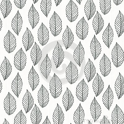 Black White Modern Wallpaper Elegant Pattern With Leafs Drawn In Thin Lines Royalty