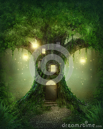 Www Animation Wallpaper Com Fantasy Tree House Royalty Free Stock Photo Image 33718885