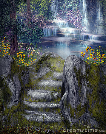 Cool 3d Flower Wallpaper Fantasy Waterfalls Stock Images Image 14540524