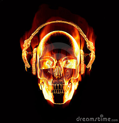 Girl Wearing Headphones Wallpaper Flaming Skull Wearing Headphones Stock Image Image 9859561