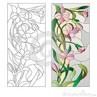 Floral Stained-glass Pattern Stock Vector - Image: 73189047