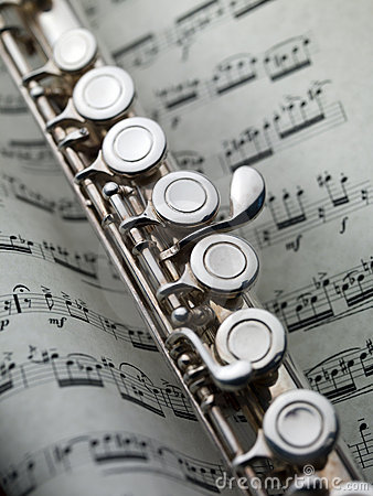 Pretty Girl Wallpaper Hd Flute On Musical Score Royalty Free Stock Image Image