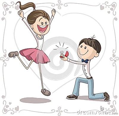 Boy Proposing Girl Hd Wallpaper Fumetto Di Vettore Di Proposta Di Matrimonio Immagine