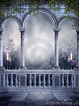 Luxury 3d Wallpaper Gothic Balcony With Candles And Roses Stock Image Image