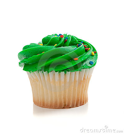 3d Vegetables Wallpaper Green Cupcake With Sprinkles On White Royalty Free Stock
