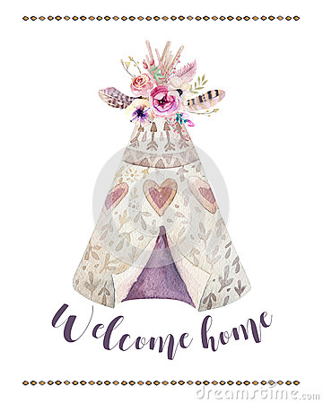 Handdrawn Watercolor Tribal Teepee, Isolated White With Quote