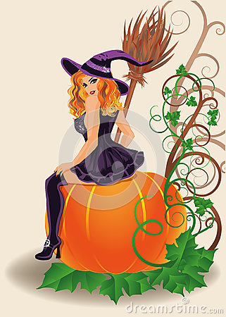 Fall Pumpkin Patch Wallpaper Happy Halloween Sexy Witch And Pumpkin Royalty Free Stock