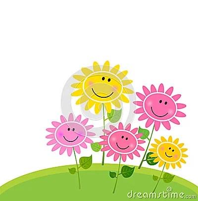 3d Sunflower Wallpaper Happy Spring Flower Garden Isolated On White Royalty