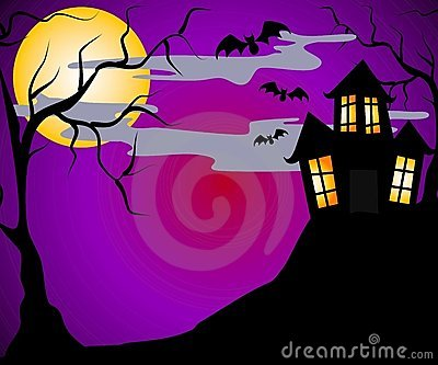 3d Moon Night Wallpaper Haunted House Halloween Royalty Free Stock Image Image