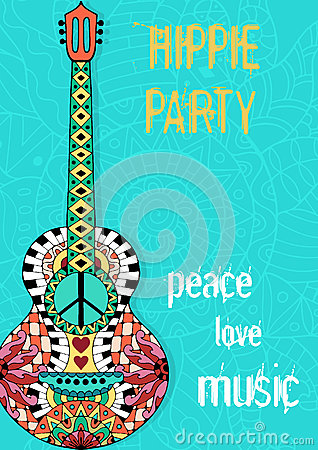 Beautiful Cartoon Girl Wallpaper Hippie Party Poster Hippy Background With Acoustic Guitar